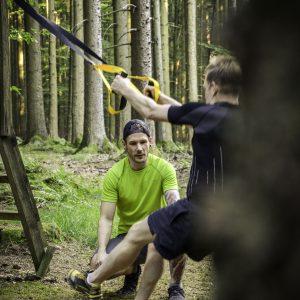 TRX-TRaining im Wald bei Bad Wurzach